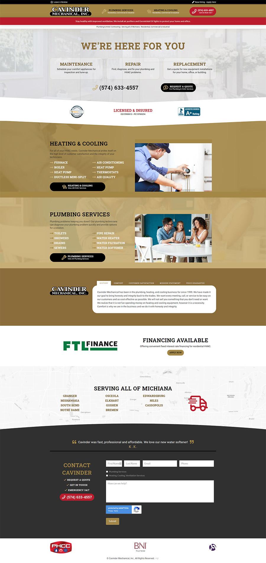 Plumbing & HVAC Services Website